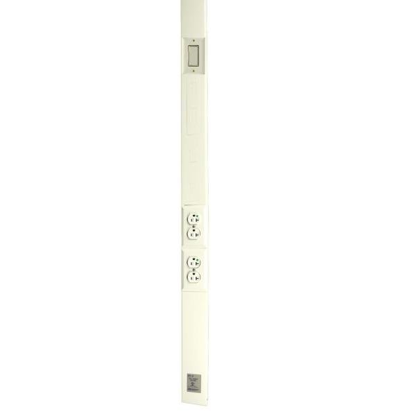 Wiremold Tele-Power Poles, 2-Channel, 12 ft. L with Two 20A Duplex Hospital Grade Receptacles and Switch, Ivory