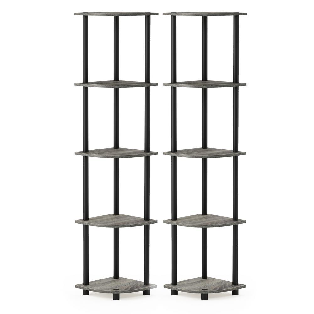 Turn-N-Tube 57.7 in. French Oak Grey Wood 5-Shelf Modern Bookcase (2-Pack)