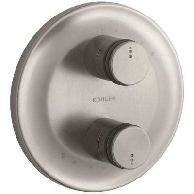 MasterShower 2-Handle Stacked Valve Trim Kit in Vibrant Brushed Nickel (Valve Not Included)