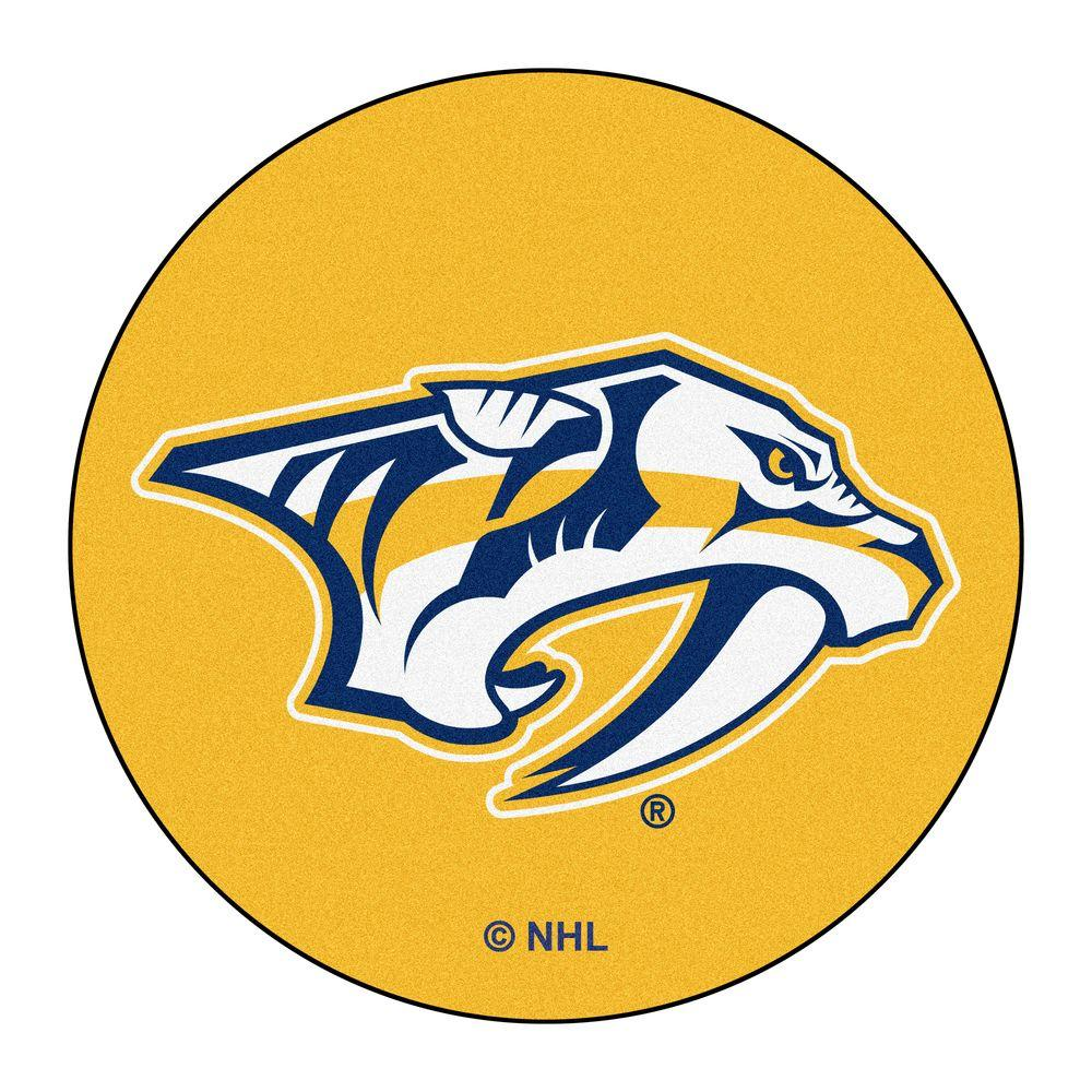 Fanmats Nashville Predators Yellow 2 Ft X 2 Ft Round Area Rug