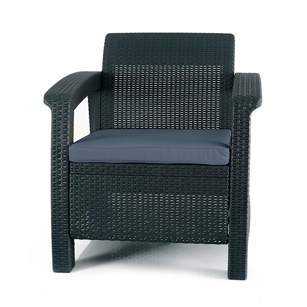 Keter Corfu Charcoal All Weather Resin Patio Armchair With Charcoal Cushion