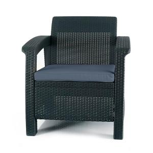 Keter Corfu Charcoal All-Weather Resin Patio Armchair with Charcoal Cushion by Keter