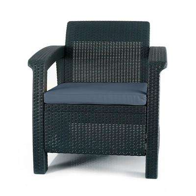 Corfu Charcoal All-Weather Resin Patio Armchair with Charcoal Cushion