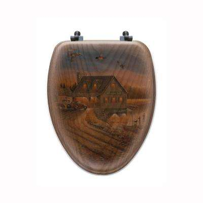 Anglers Inn Elongated Closed Front Wood Toilet Seat in Oak Brown