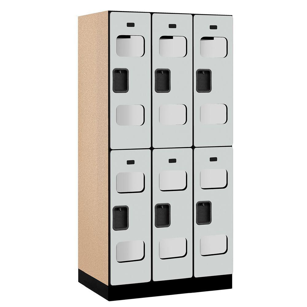 S-32000 Series 36 in. W x 76 in. H x 21 in. D 2-Tier See-Through Designer Wood Locker in Gray