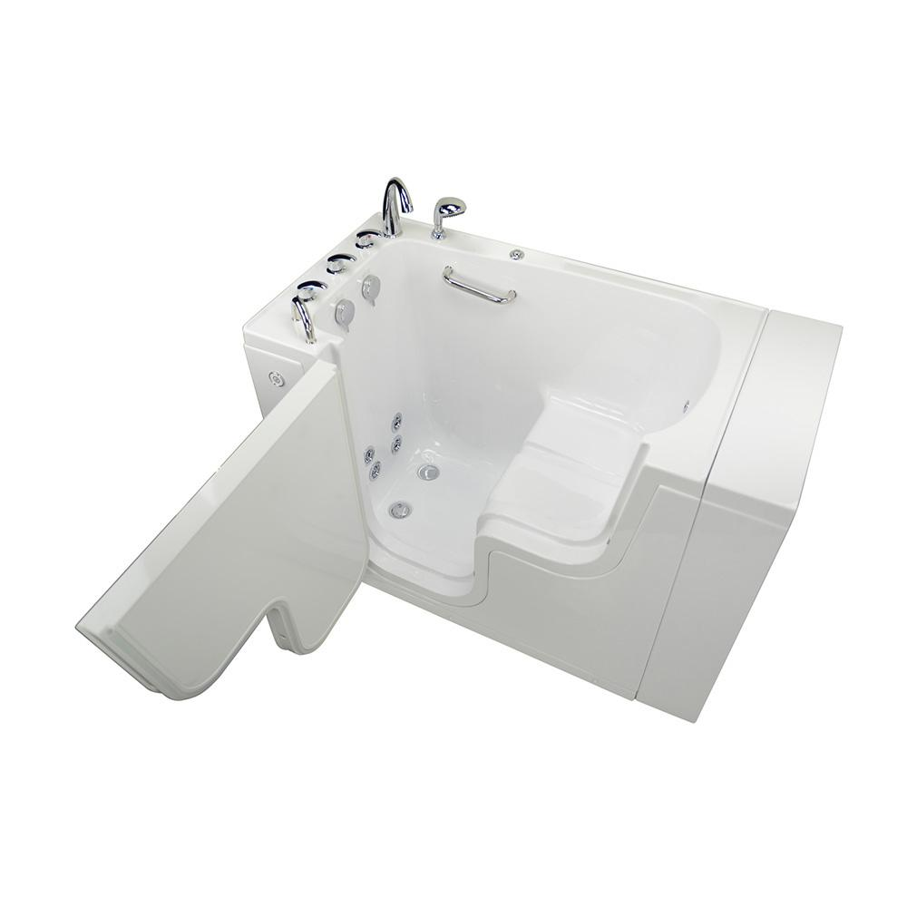 Ella Wheelchair Transfer 52 in. Acrylic Walk-In Whirlpool Bathtub in White with Fast Fill Faucet Set, Left 2 in. Dual Drain