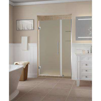 Belmore GS 45.25  to 46.25  x 72  Frameless Hinged Shower Door with Frosted Glass and Glass Shelves in Stainless Steel