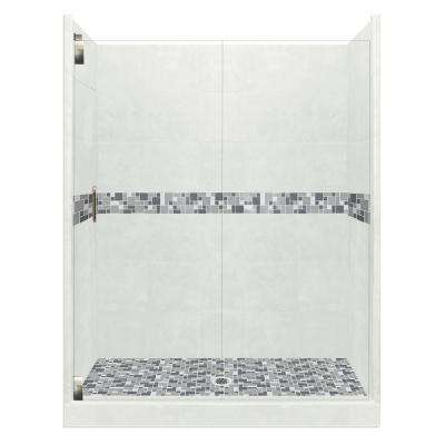 Newport Grand Hinged 34 in. x 60 in. x 80 in. Left Drain Alcove Shower Kit in Natural Buff and Satin Nickel Hardware