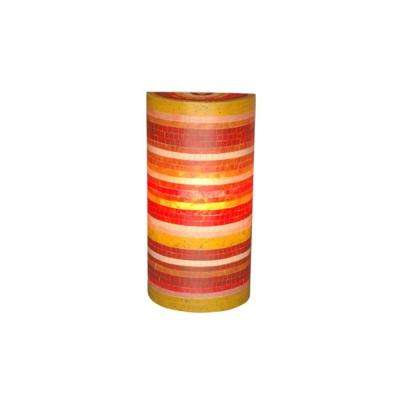 Macedon 1-Light Red, Green, Orange and Yellow Wall Sconce with Mosaic Fiberglass Pattern
