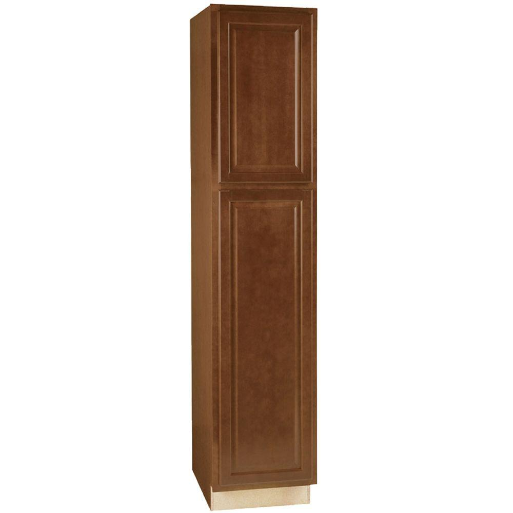 Hampton Bay Hampton Assembled 18x84x24 in. Pantry Kitchen Cabinet in Cognac