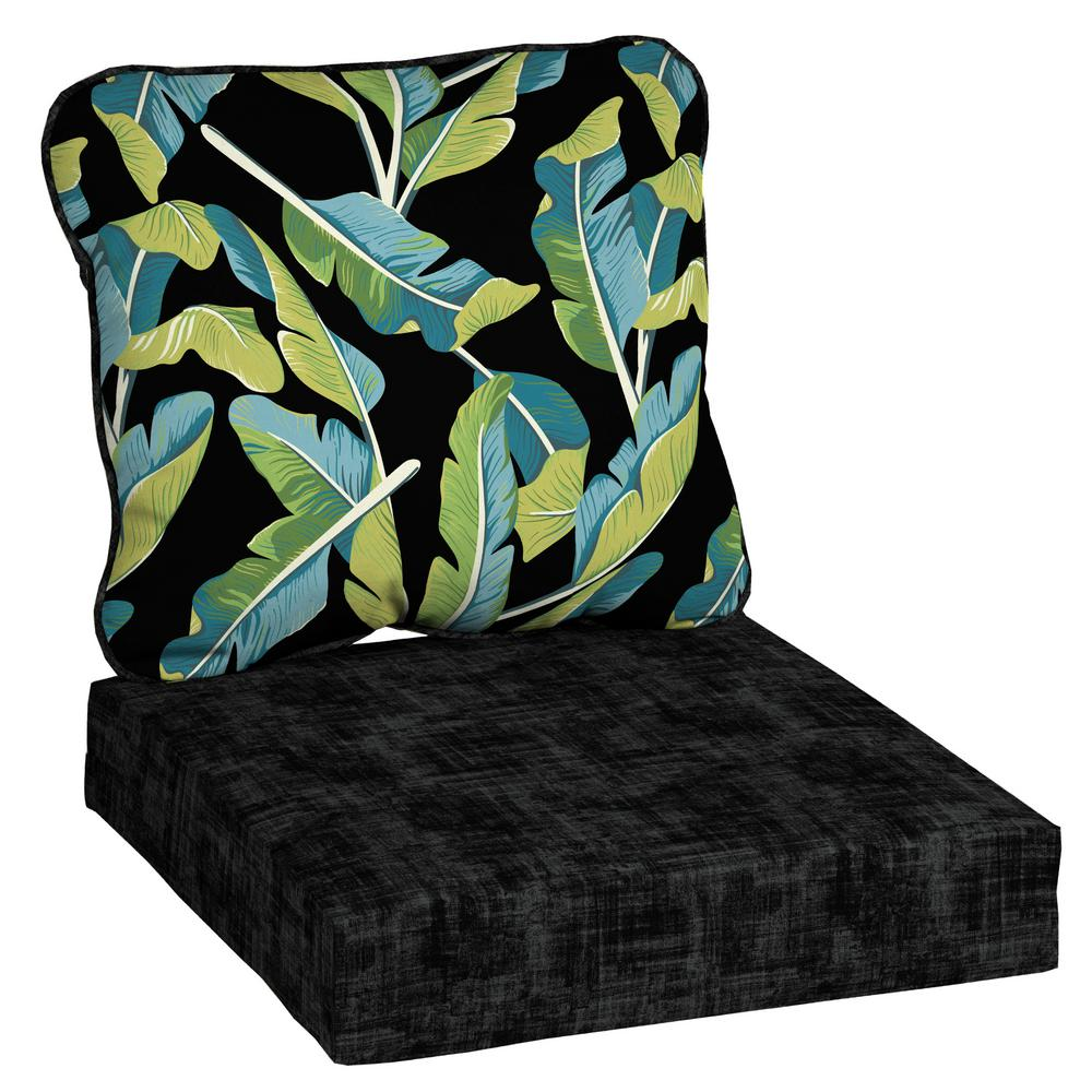 Enjoyable Hampton Bay Banana Leaf Tropical Deep Seating Outdoor Lounge Chair Cushion Beatyapartments Chair Design Images Beatyapartmentscom