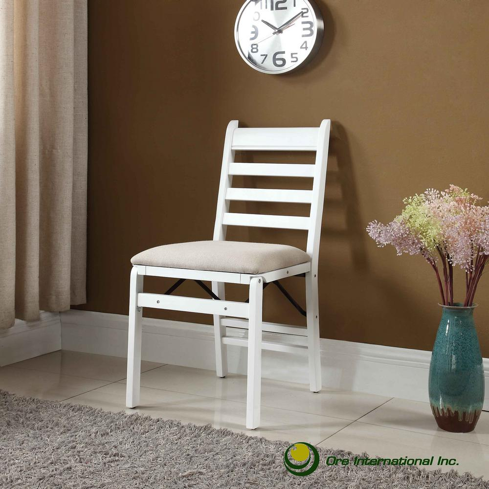 35 in. White Wood Folding Chair (Set of 2)
