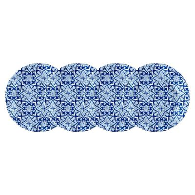 Talavera 4-Piece Traditional Blue Melamine Appetizer Plate Set (Service for 4)
