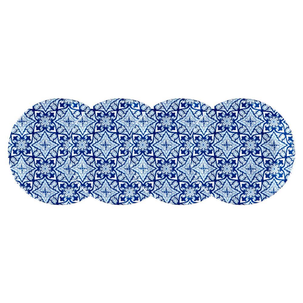 Talavera 4-Piece Blue Melamine Appetizer Plate Set