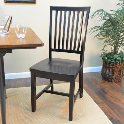 Hudson Antique Black Wood Dining Chair
