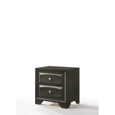 Amelia 2-Drawer 24 in. x 17 in. x 24 in. Antique Gray Rubber Wood Nightstand
