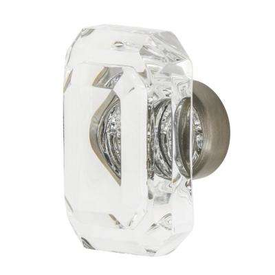 Baguette Cut Crystal 1-3/4 in. Cabinet Knob in Satin Nickel