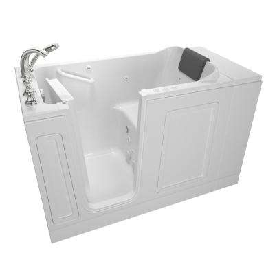 Acrylic Luxury 51 in. x 30 in. Left Hand Walk-In Whirlpool and Air Bathtub in White