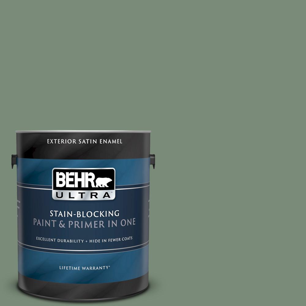 BEHR ULTRA 1 gal. #450F-5 Amazon Moss Satin Enamel Exterior Paint and Primer in One BEHR ULTRA 1 gal. #450F-5 Amazon Moss Satin Enamel Exterior Paint and Primer in One