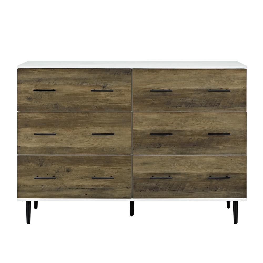 Walker Edison Furniture Company 52 In White Rustic Oak Reclaimed 6 Drawer Storage