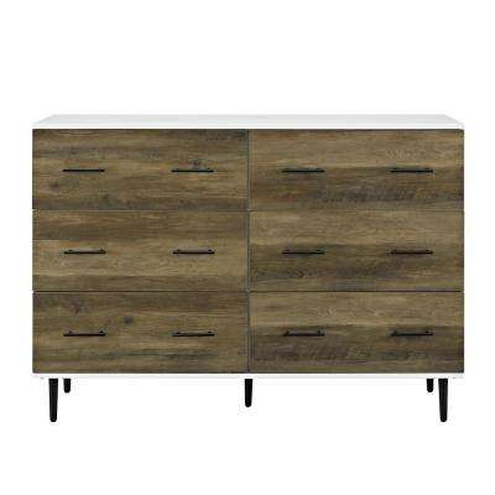 52 in. White/Rustic Oak Reclaimed 6-Drawer Storage