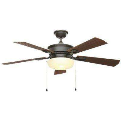 Lake George 54 in. LED Indoor/Outdoor Natural Iron Ceiling Fan with Light