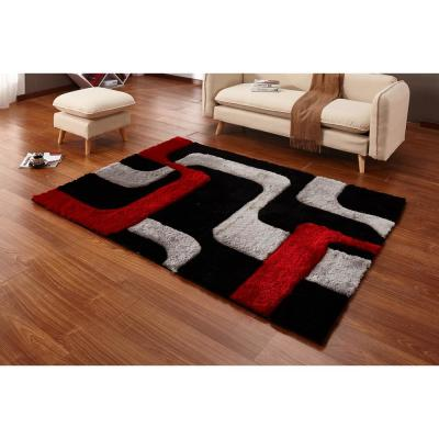 Casa Regina Shaggy Collection 3D Design Abstract Lines Red Black Soft Shag 5 ft. x 7 ft. Area Rug