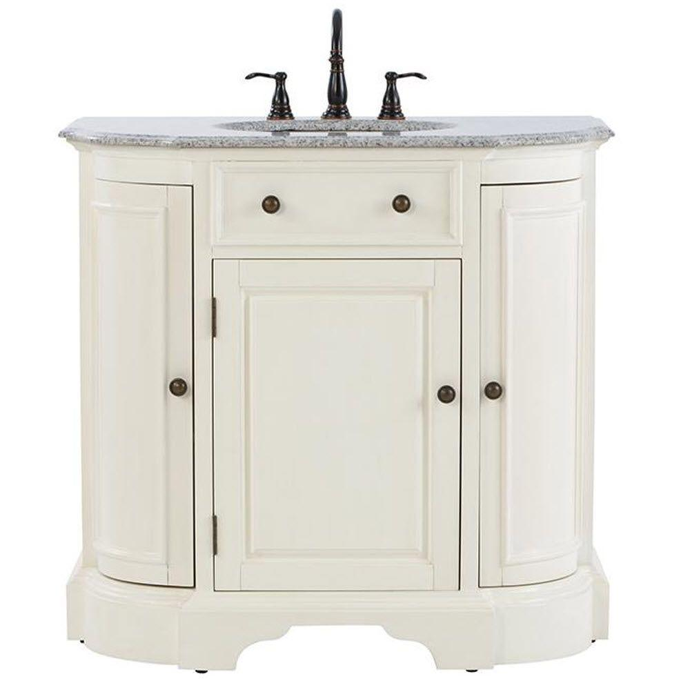 Home Decorators Collection Davenport 37 in. Vanity in Ivory with Granite Vanity Top in Grey and Under-Mount Sink