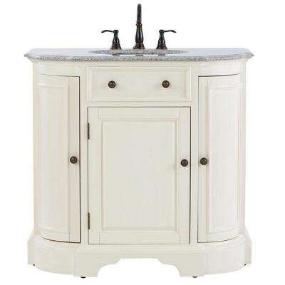 Davenport 37 in. Vanity in Ivory with Granite Vanity Top in Grey and Under-Mount Sink