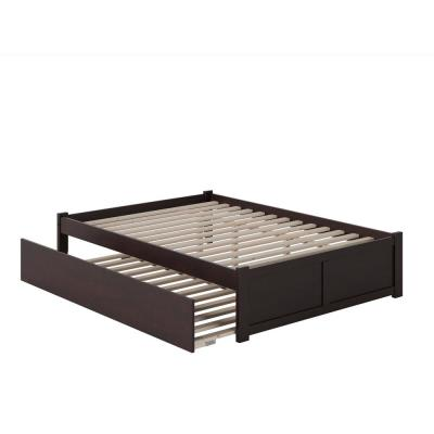 Concord Full Platform Bed with Flat Panel Foot Board and Twin-Size Urban Trundle Bed in Espresso