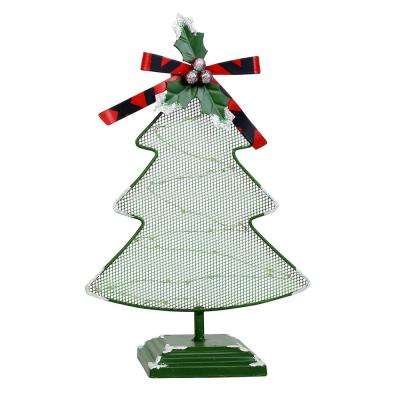 11 in. Tall Christmas Tree Table Decor with White LED Light