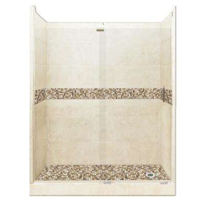Roma Grand Slider 30 in. x 60 in. x 80 in. Right Drain Alcove Shower Kit in Desert Sand and Satin Nickel Hardware