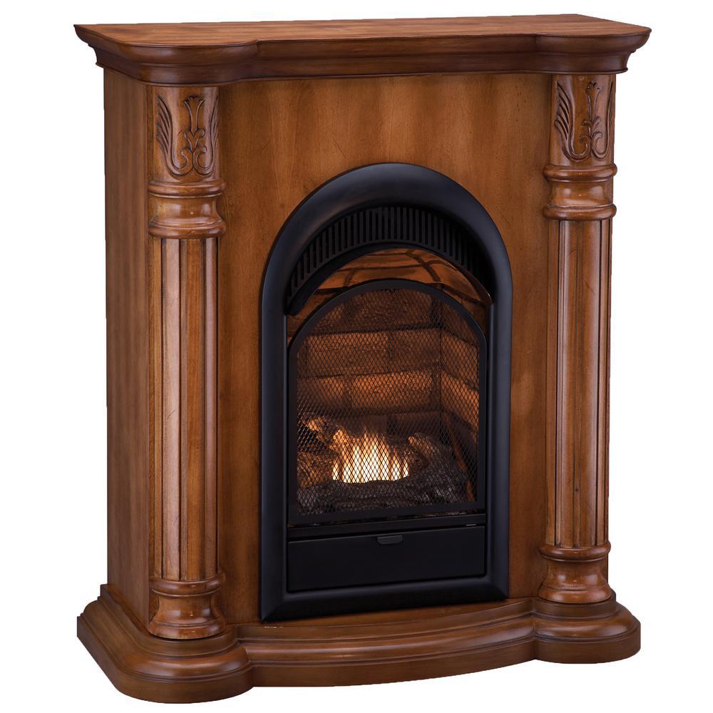 33 in. 15,000 BTU Ventless Dual Fuel Fireplace in Light Maple