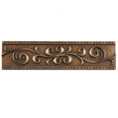 Contempo Bronze Scroll Liner 3 in. x 12 in. Mixed Material Wall Trim Tile
