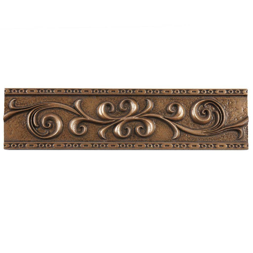 Contempo Scroll Liner Bronze 3 in. x 12 in. Travertine Metallic Wall Trim Tile