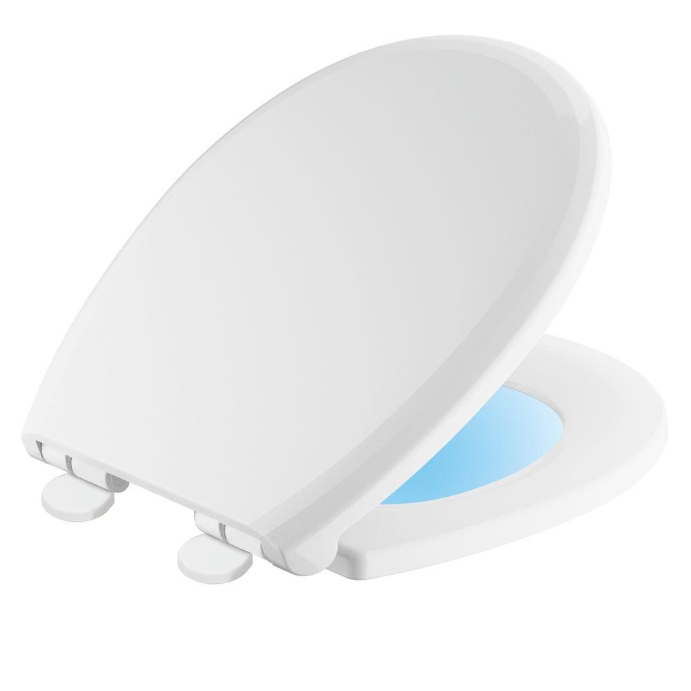 Sanborne Round Closed Front Toilet Seat with NightLight in White