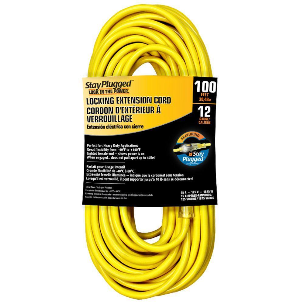 Cerrowire 100 ft. 12/3 Stayplug Extension Cord - Yellow