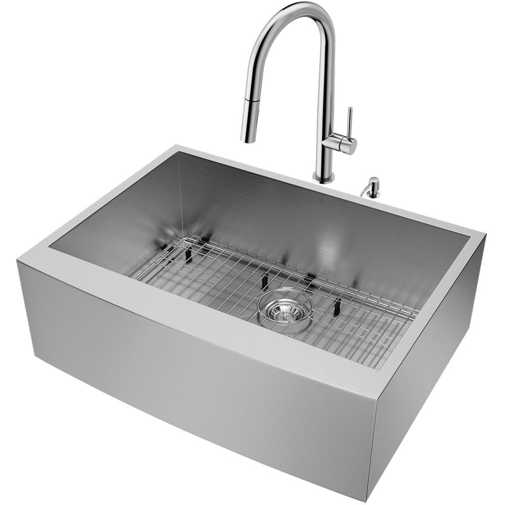 Vigo All In One Camden Farmhouse Kitchen Sink Set: VIGO All-in-One 30 In. Camden Stainless Steel Farmhouse