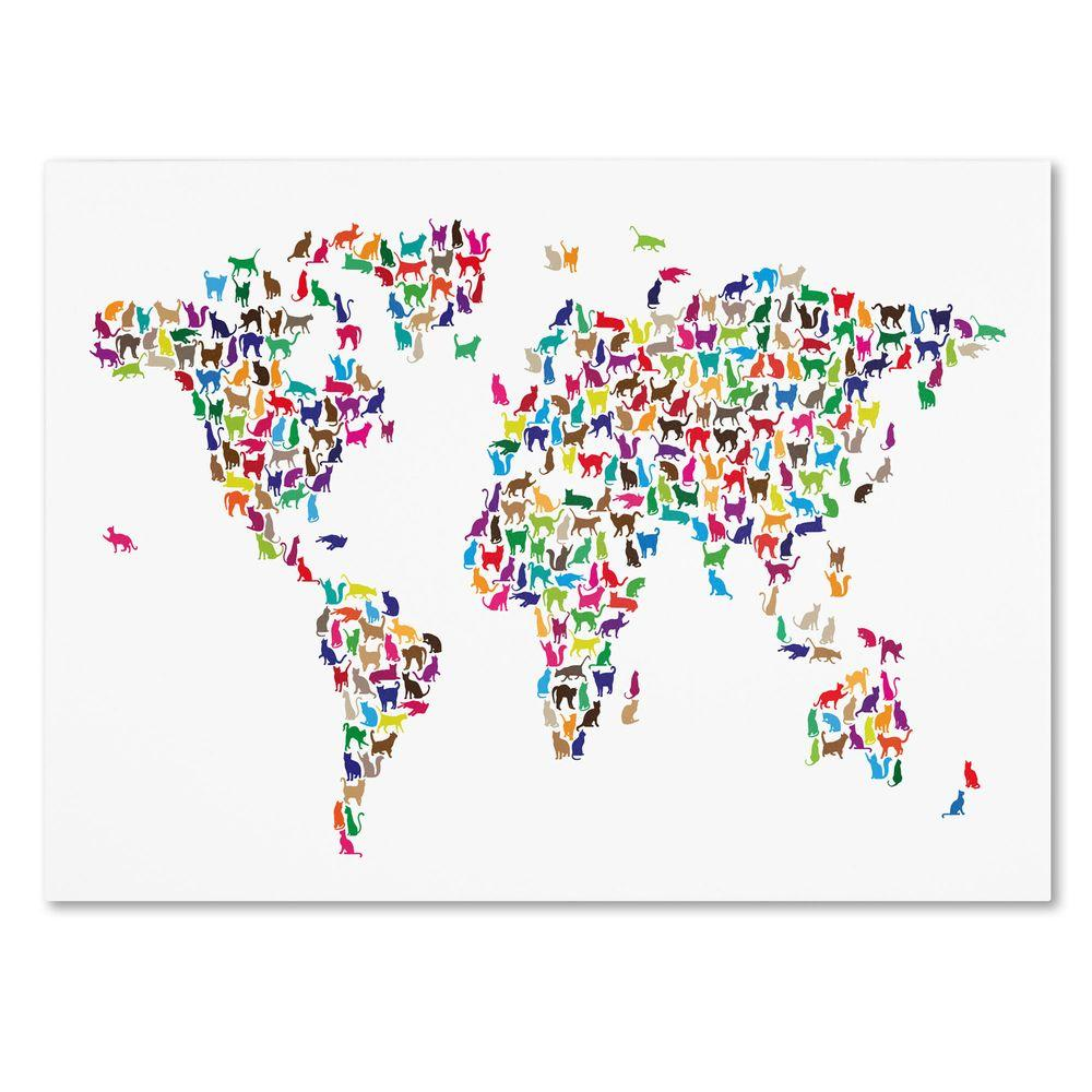 "Trademark Fine Art 22 in. x 32 in. ""Cats World Map"" Canvas Art"