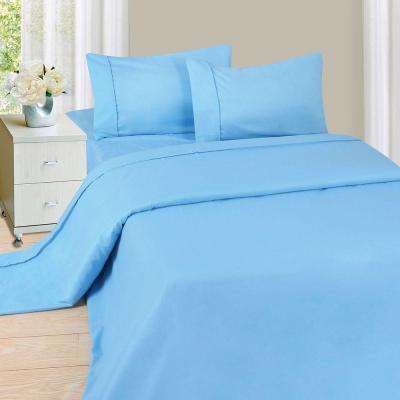 1200 Series 4-Piece Blue 75 GSM Queen Microfiber Sheet Set