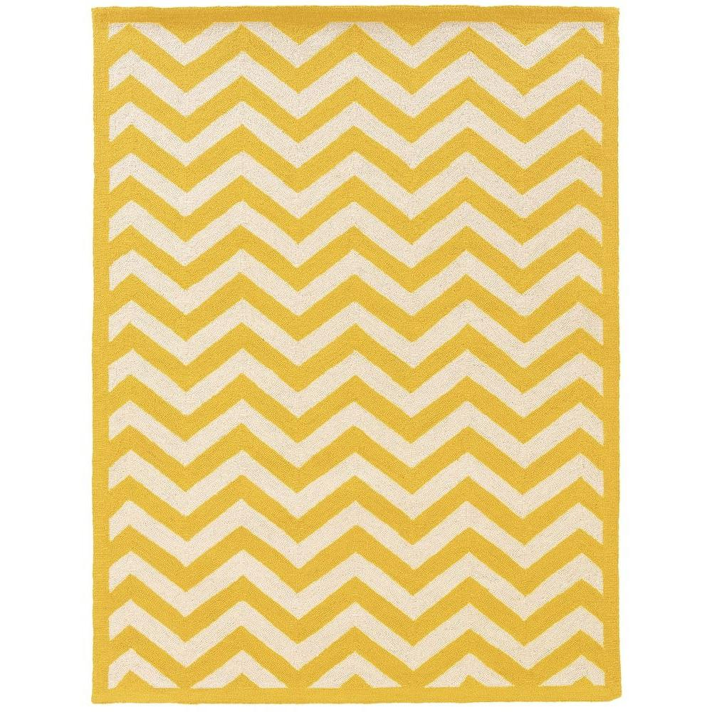 Linon Home Decor Silhouette Chevron Yellow And White 5 Ft. X 7 Ft. Indoor