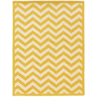 Silhouette Chevron Yellow And White 5 Ft X 7 Indoor Area Rug