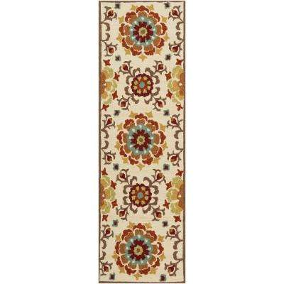 Duvalia Beige 3 ft. x 8 ft. Indoor/Outdoor Runner Rug