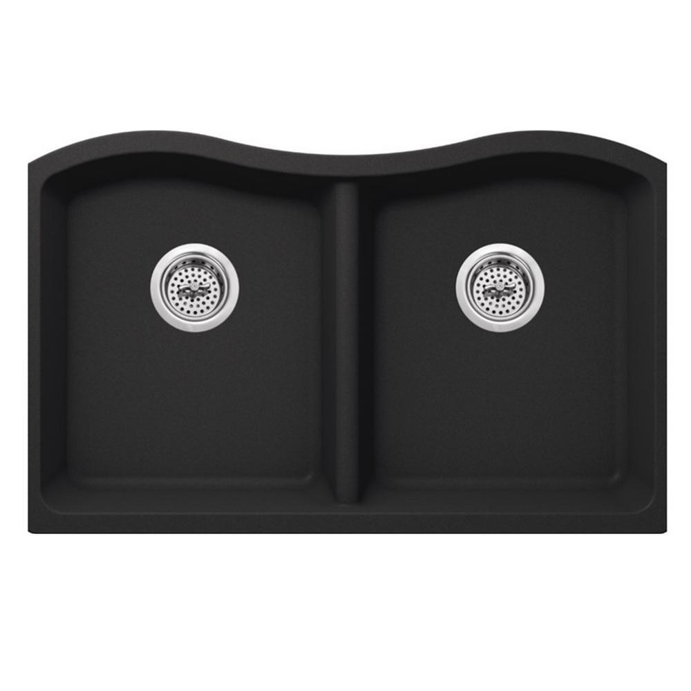 Undermount Quartz 32-1/2 in. 50/50 Double Bowl Kitchen Sink in Onyx Black