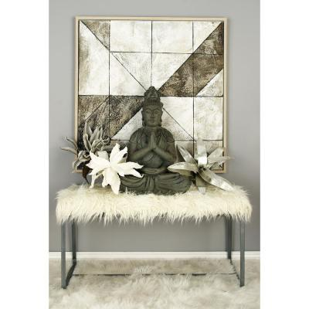 White Faux Fur Rectangular Bench