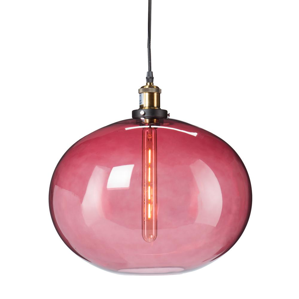 Castor 1-Light Magenta Colored Glass Pendant Lamp