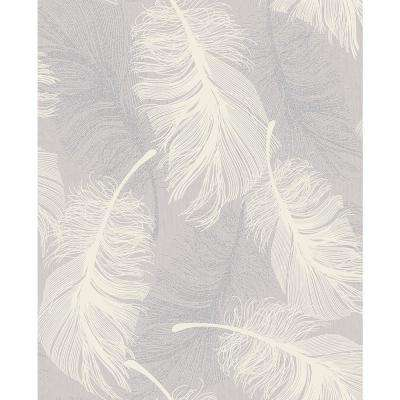 56.4 sq. ft. Journey Lavender Feather Wallpaper