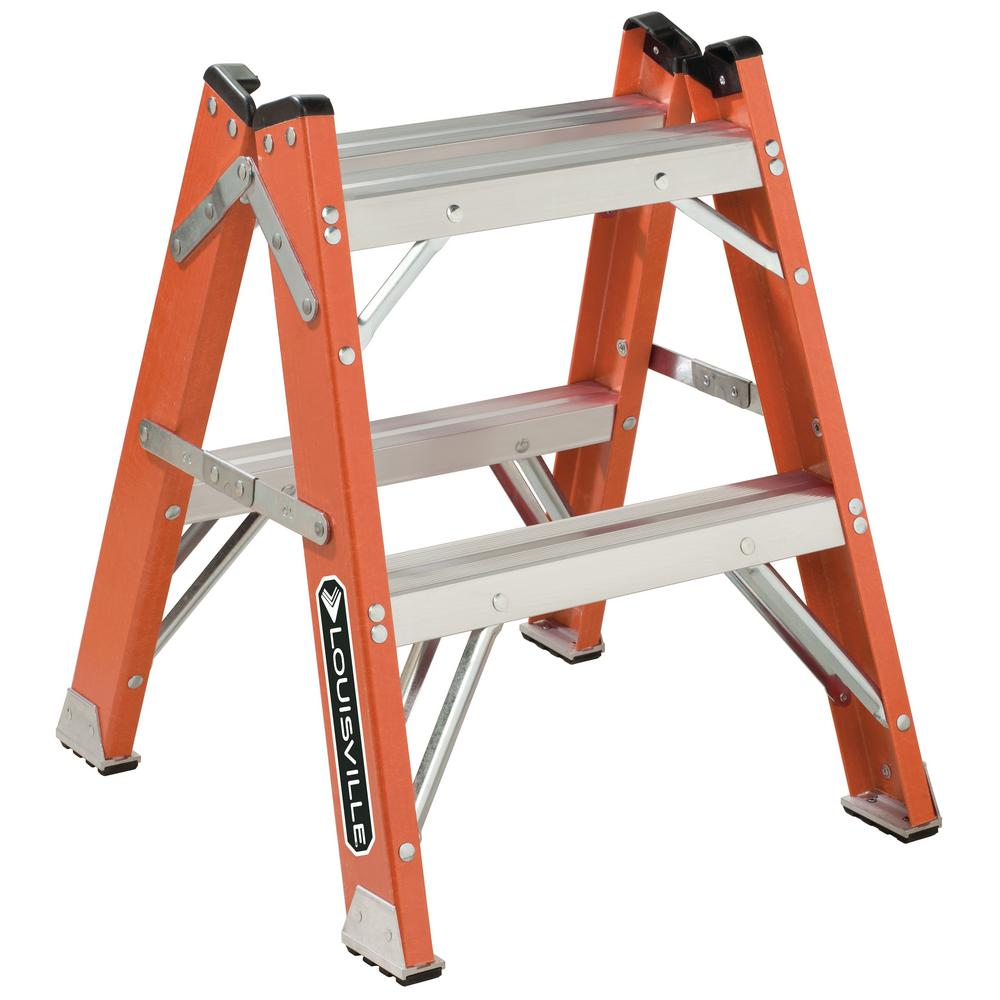 2 ft. Fiberglass Twin Front Step Stool with 375 lb. Load