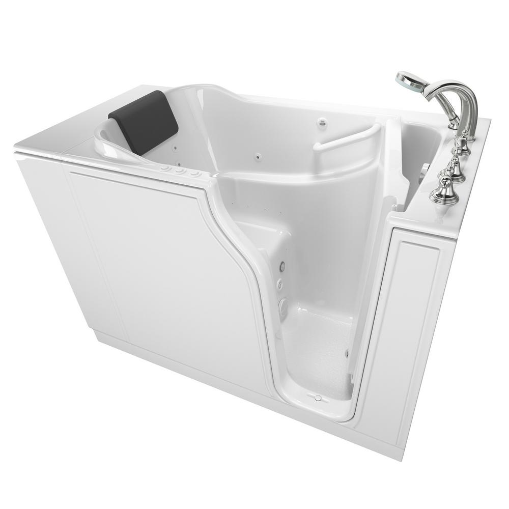 American Standard Gelcoat Premium Series 52 in. x 30 in. Right Hand Walk-In Whirlpool and Air Bathtub in White