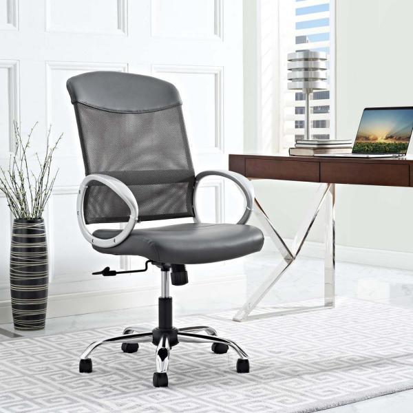 MODWAY Emblem Mesh and Vinyl Office Chair in Gray EEI-2860-GRY